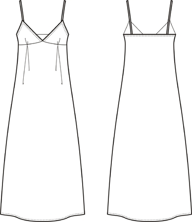 Vector illustration of women s long dress  Front and back views