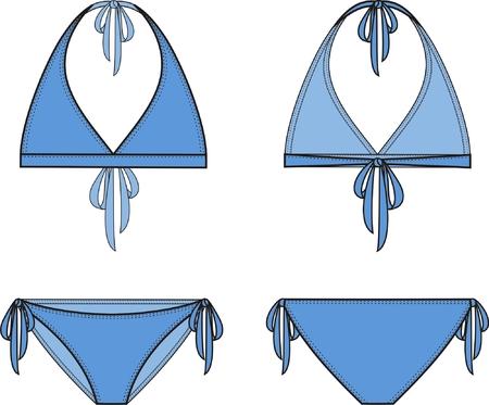 womenīŋŊs: Vector illustration of women s bikini  Front and back views