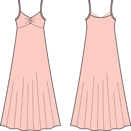 Vector illustration of womens dress. Front and back views Vector