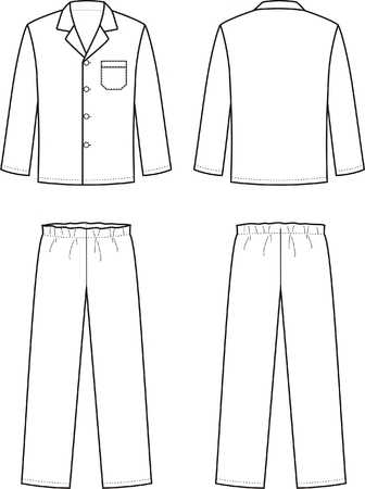 Vector illustration of mens sleepwear. Front and back views