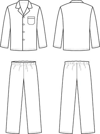 pajamas: Vector illustration of mens sleepwear. Front and back views