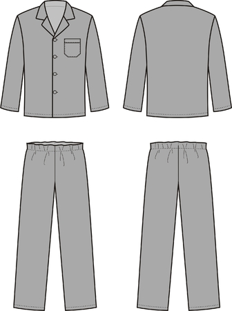 Vector illustration of mens sleepwear. Front and back views Vector