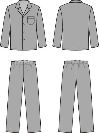 sleepwear: Vector illustration of mens sleepwear. Front and back views