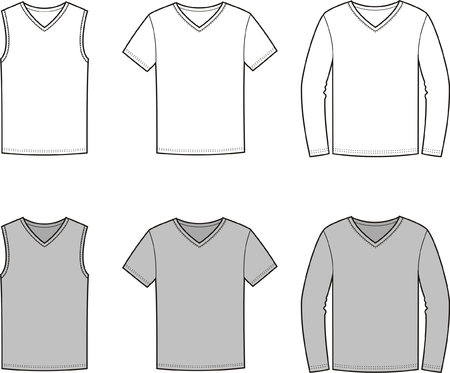 Vector illustration of mens singlet, t-shirt, jumper Vector