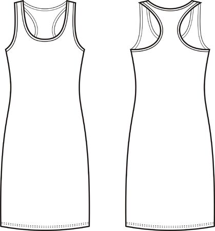 Vector illustration of womens sport dress. Front and back views Vector