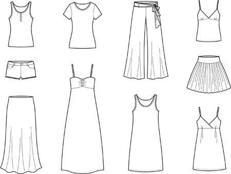 Vector illustration of womens summer clothes Illustration