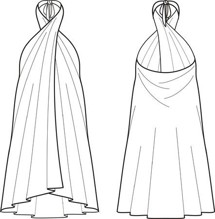 pareo: Vector illustration of womens beach dress. Front and back views