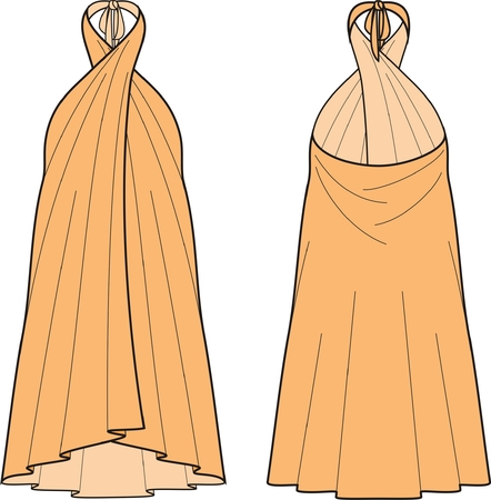Vector illustration of womens beach dress. Front and back views Vector