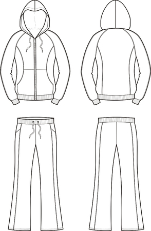 smock: Vector illustration of womens sport suit. Front and back views Illustration
