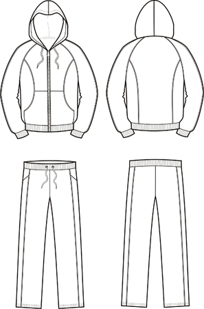 Vector illustration of mens sport suit. Smock and pants. Front and back views