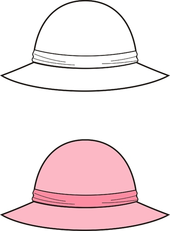 woman wearing hat: Vector illustration of womens hat