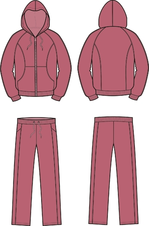 smock: Vector illustration of mens sport suit. Smock and pants. Front and back views