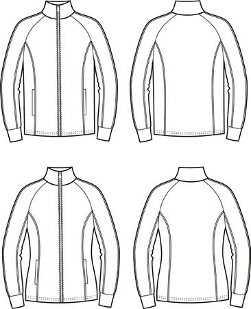 Vector illustratie van de heren en dames sport jassen. Uitzicht op voor- en achterkant