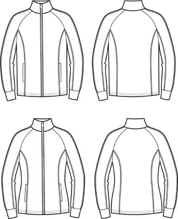 Vector illustration of mens and womens sport jackets. Front and back views
