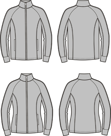 sports wear: Vector illustration of mens and womens sport jackets. Front and back views