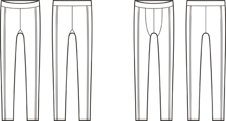 boy underwear: Vector illustration of mens and womens sport leggings. Front and back views