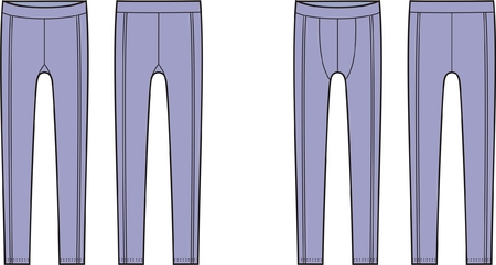 underclothes: Vector illustration of mens and womens sport leggings. Front and back views