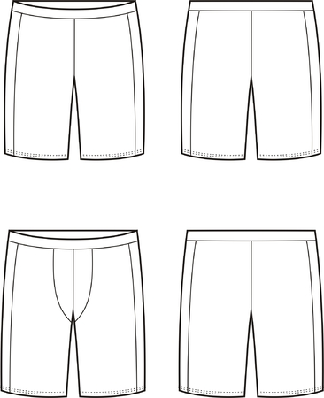 Vector illustration of mens and womens sport shorts. Front and back views