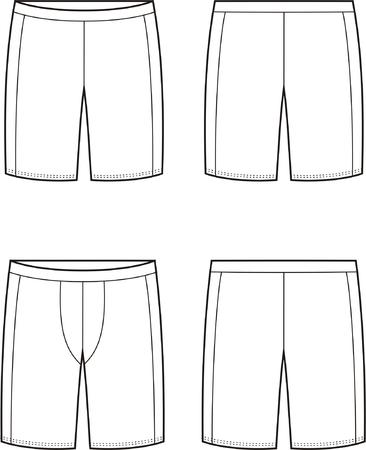Vector illustratie van de heren en dames sport shorts. Uitzicht op voor- en achterkant