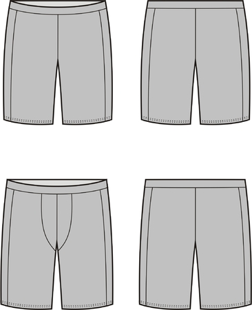 underclothes: Vector illustration of mens and womens sport shorts. Front and back views