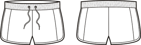 Vector illustration of sport shorts. Front and back views