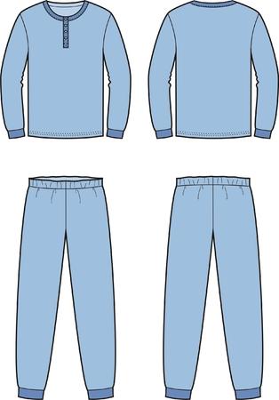 sleepwear: Vector illustration of mens sleepwear. Jumper and pants. Front and back views Illustration