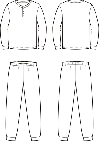 pijama: Ilustración vectorial de la ropa de noche para hombre. Jumper y pantalones. Vistas frontales y traseros