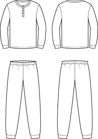 Vector illustratie van de mannen nachtkleding. Trui en broek. Uitzicht op voor- en achterkant