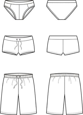 Illustrazione vettoriale di mens mutande. Vista anteriore e posteriore Vettoriali