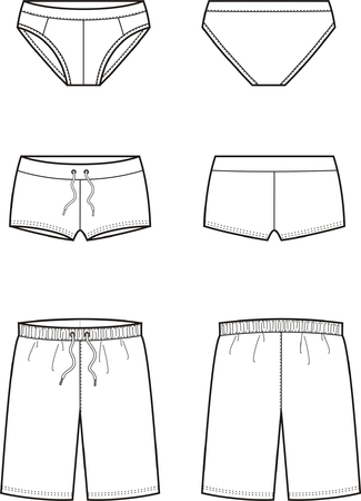 Vector illustration of mens underpants. Front and back views Vectores