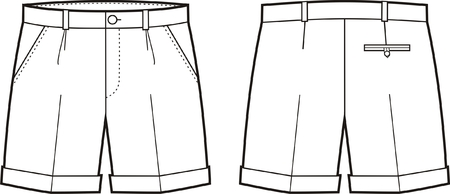 Vector illustration of mens shorts. Front and back views
