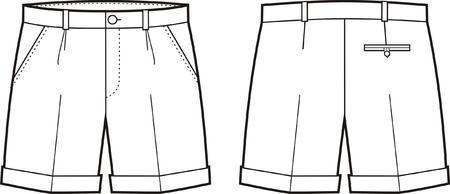 Vector illustration of mens shorts. Front and back views