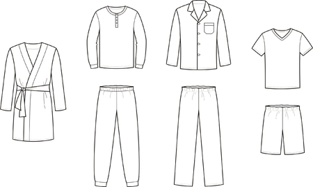 Vector illustration of mens sleepwear