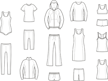 Vector illustration of womens sport clothes Vectores