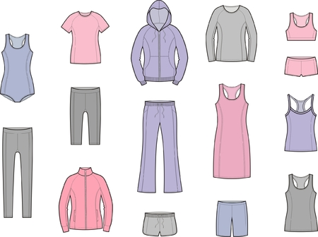 sport clothes: Vector illustration of womens sport clothes Illustration