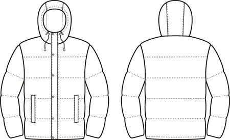 pocket size: Vector illustration of mens winter down jacket. Front and back views Illustration
