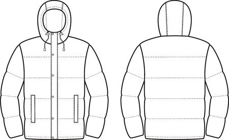 pocket size: Vector illustration of mens winter down jacket. Front and back views Illustration