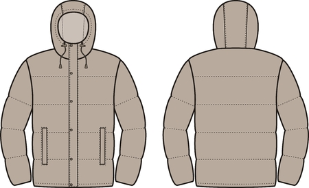 Vector illustration of mens winter down jacket. Front and back views Vector