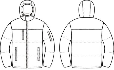 Vektor-Illustration der Herren Winterdaunenjacke. Vorder- und Rückseite Blick