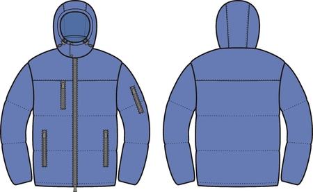 Vector illustration of mens winter down jacket. Front and back views Illustration