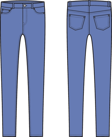 pocket size: Vector illustration of skinny jeans. Front and back views