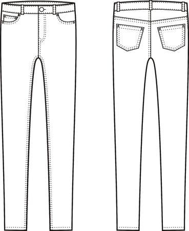 skinny jeans: Ilustraci�n vectorial de jeans ajustados. Vistas frontales y traseros