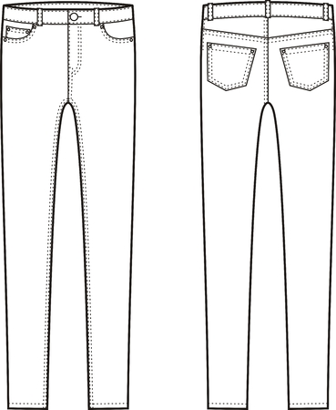 skinny jeans: Vector illustration of skinny jeans. Front and back views