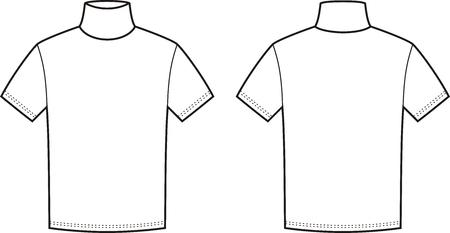 turtleneck: Vector illustration of mens short-sleeve turtleneck. Front and back views