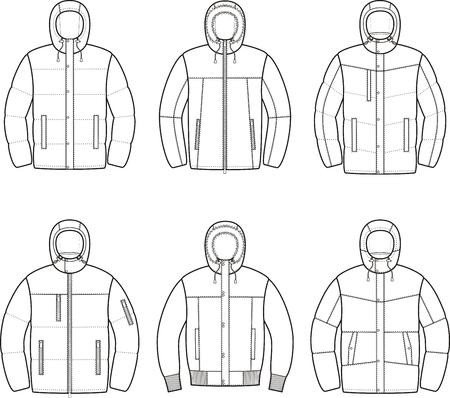Vector illustration of mens winter down jacket Stock Illustratie