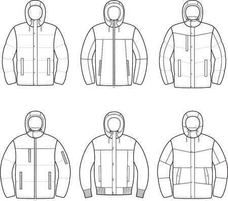 Vector illustration of mens winter down jacket Illusztráció