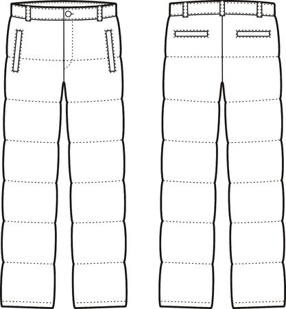 pantalones abajo: Ilustraci�n del vector de los pantalones para hombre invierno abajo. Vistas frontales y traseros