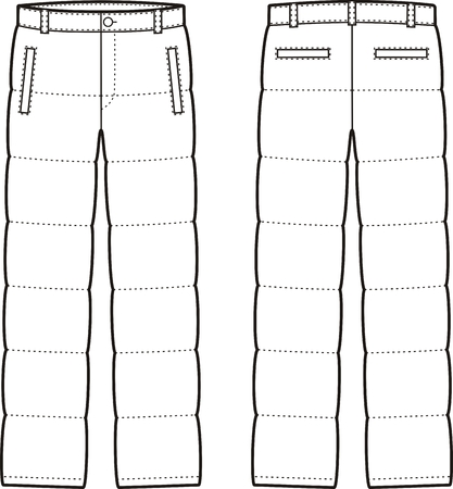 pants down: Vector illustration of mens winter down pants. Front and back views