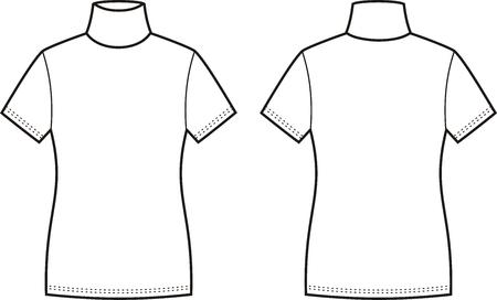 turtleneck: Vector illustration of womens short-sleeve turtleneck. Front and back views