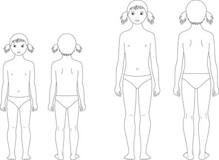 enfant maillot de bain: Vector illustration de la figure de fille-enfant. Changer dans des proportions: 5 et 10 ans. Vues avant et arrière